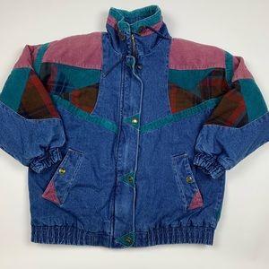 Vintage 90s Retro Color Block Denim Jean Jacket